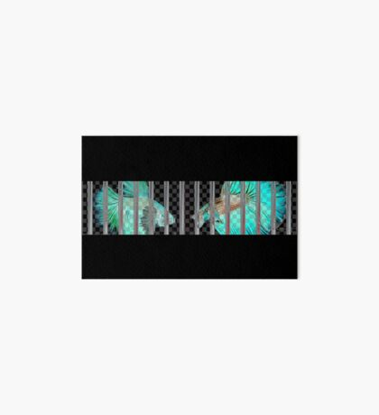 Negative Fish Behind Bars on Transparency Grid Art Board Print