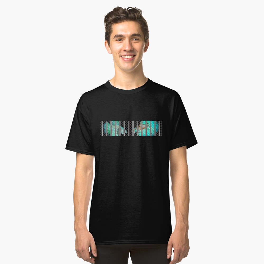 Negative Fish Behind Bars on Transparency Grid Classic T-Shirt