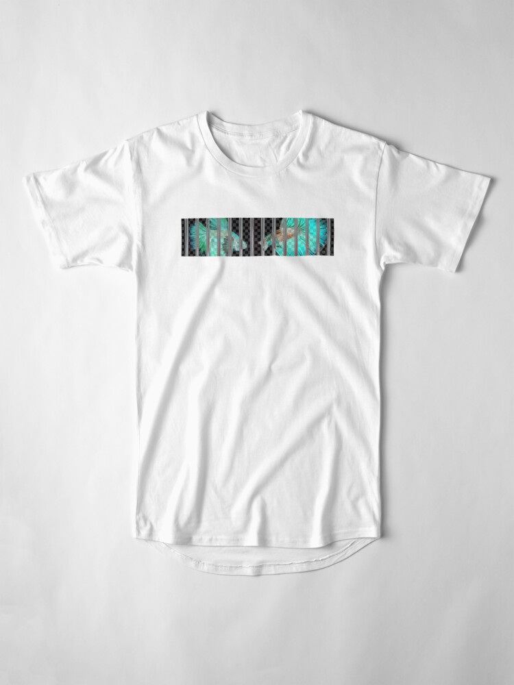 Alternate view of Negative Fish Behind Bars on Transparency Grid Long T-Shirt