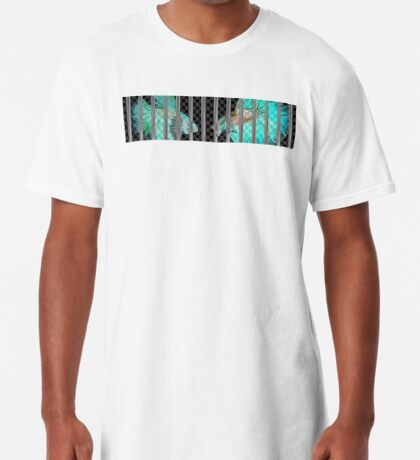 Negative Fish Behind Bars on Transparency Grid Long T-Shirt