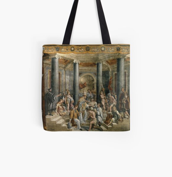 The Baptism of Constantine #FamousPlace, #international #landmark, #Raphael Rooms, Vatican City, Europe, Southern Europe, italian culture, art All Over Print Tote Bag