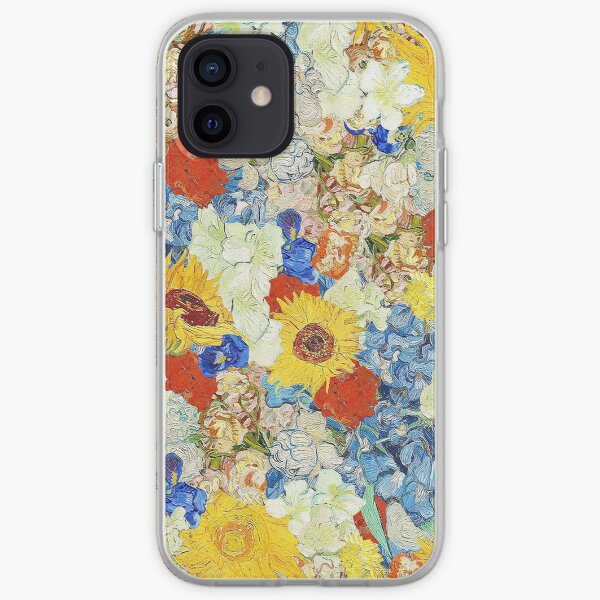 collage de fleurs van gogh Coque souple iPhone