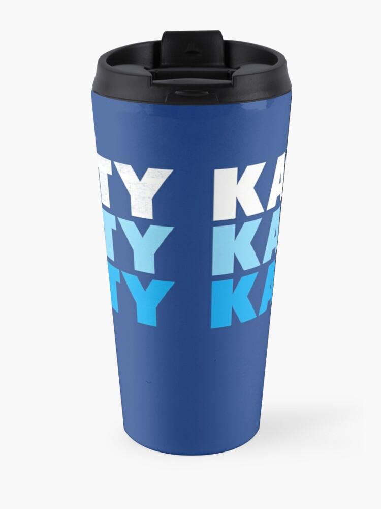 Alternate view of Retro KC Royal Blue & Light Blue Kansas City Crown Town KC Baseball Fans Wear Kansas city KC Face mask Kansas City facemask Travel Mug