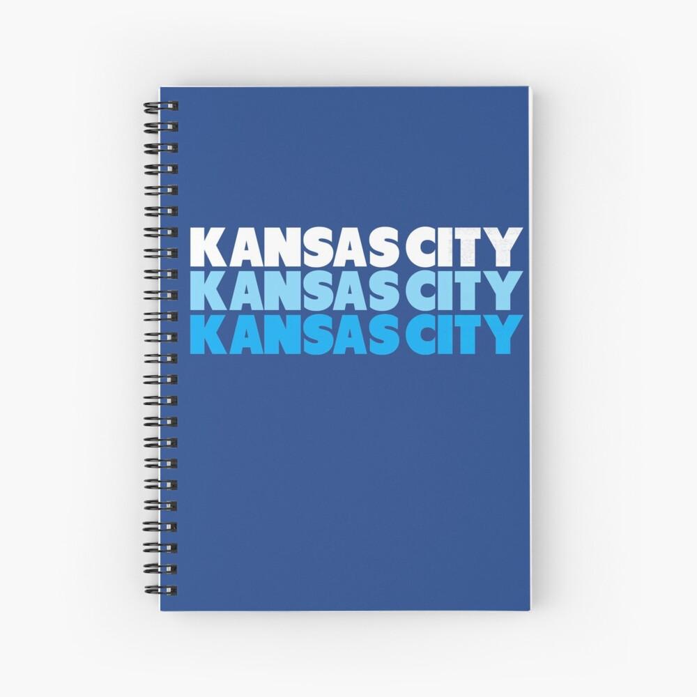 Retro KC Royal Blue & Light Blue Kansas City Crown Town KC Baseball Fans Wear Kansas city KC Face mask Kansas City facemask Spiral Notebook