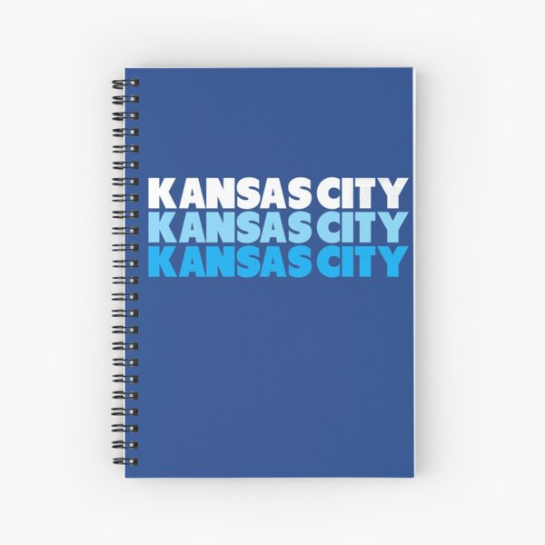 Retro KC Royal Blue & Light Blue Kansas City Crown Town KC Baseball Fans Wear Kansas city KC Face mask Kansas City facemask Spiral Notebook