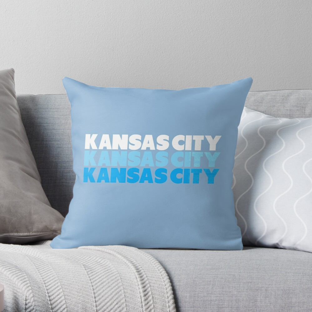 Retro KC Royal Blue & Light Blue Kansas City Crown Town KC Baseball Fans Wear Kansas city KC Face mask Kansas City facemask Throw Pillow