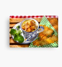 Bavarian Macaroni With Cheese and Crispy Cheese Cookie Canvas Print