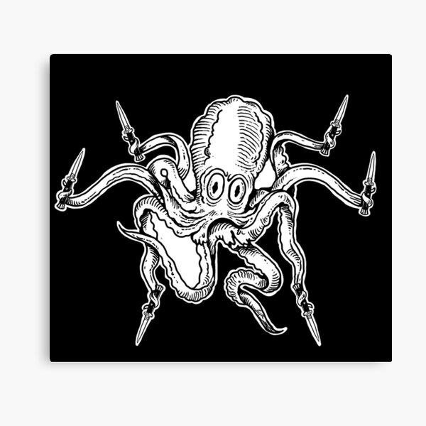 Fighty Octopus in B&W Canvas Print