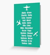 Pilot Phonetic Alphabet Militär Cadet Flugzeuge Grußkarte