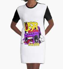 USB sLAve Radio Graphic T-Shirt Dress