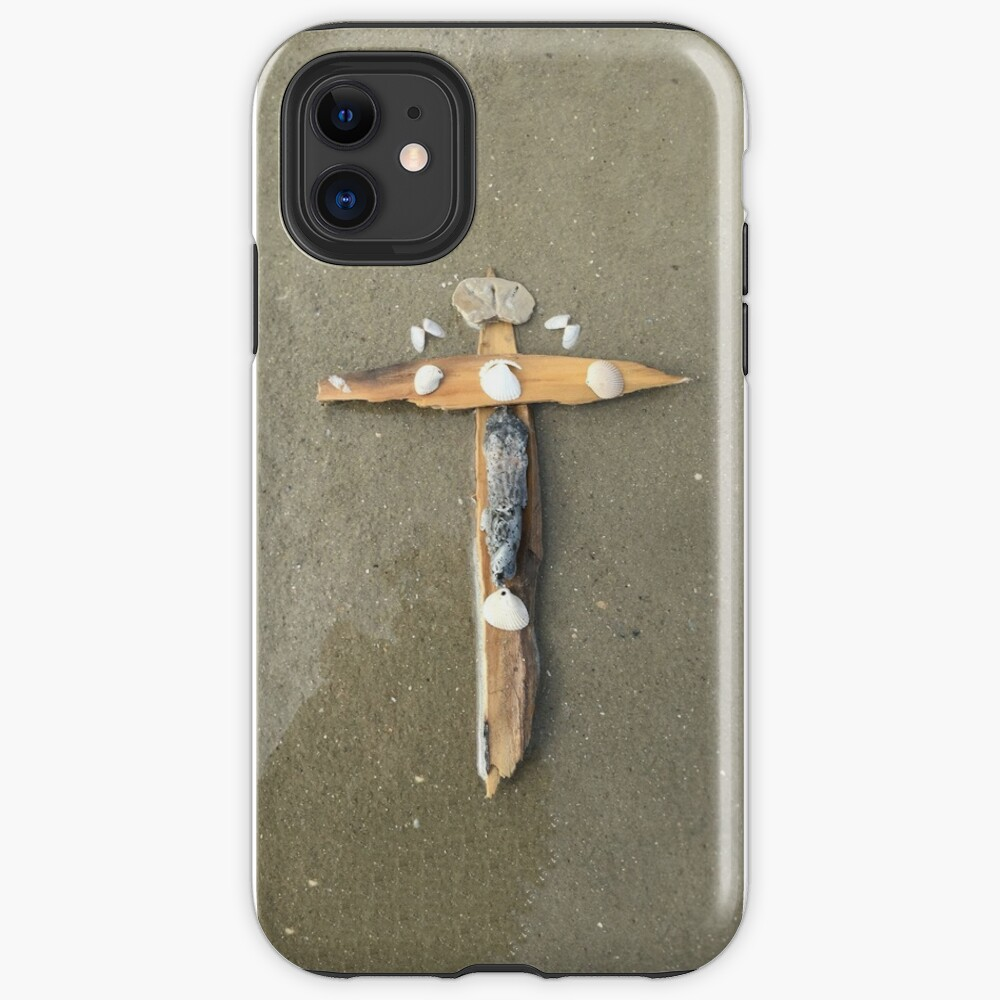 Driftwood cross on beach sand - From ccnow.info iPhone Case & Cover