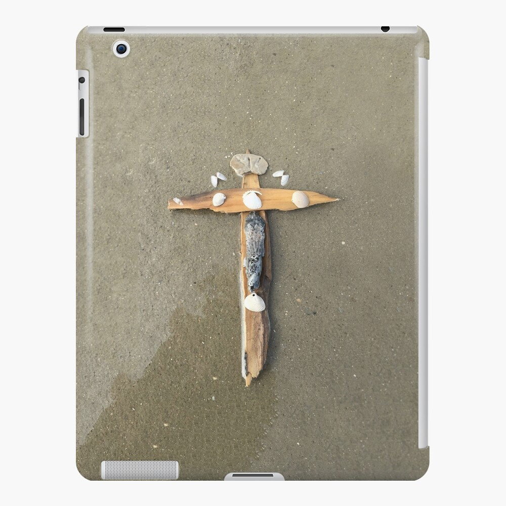 Driftwood cross on beach sand - From ccnow.info iPad Case & Skin