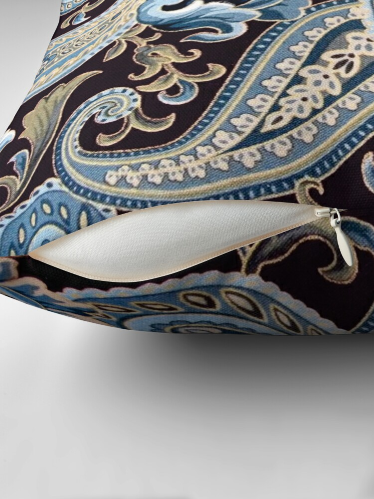 Alternate view of Blue Brown Vintage Paisley Throw Pillow