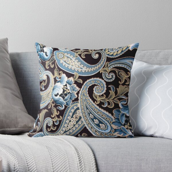 Blue Brown Vintage Paisley Throw Pillow