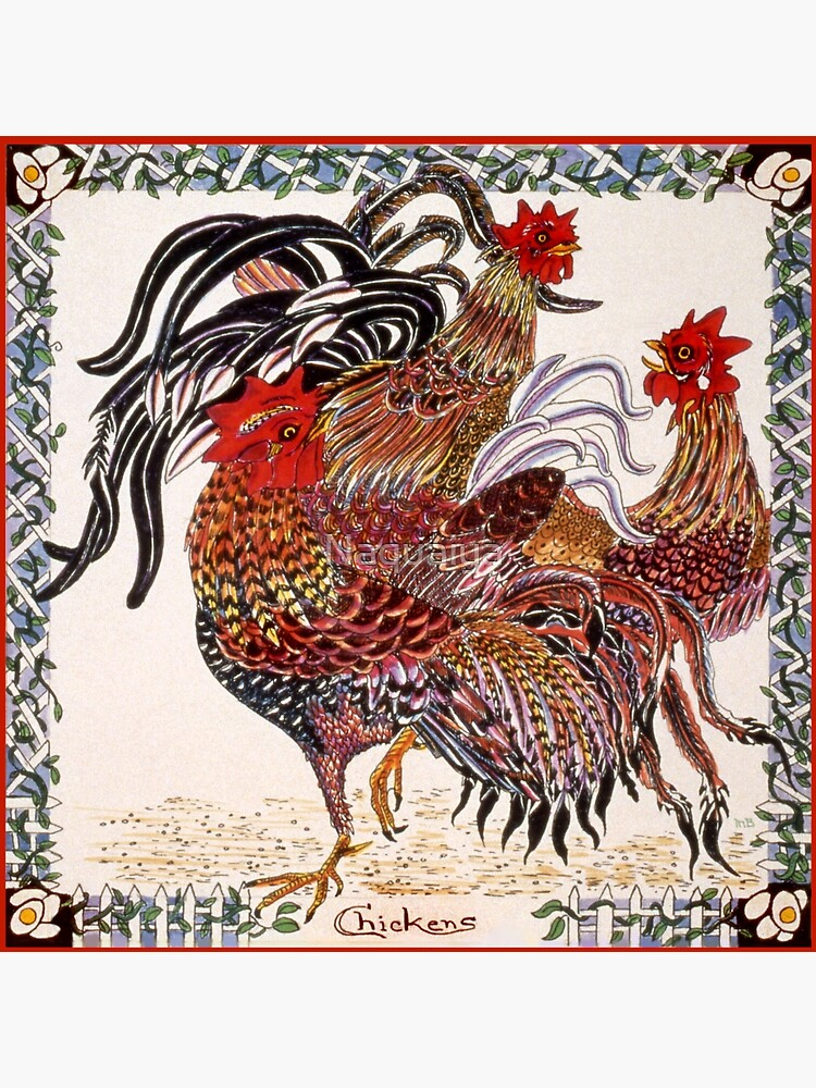 Chickens ornate pen and ink square drawing by Naquaiya