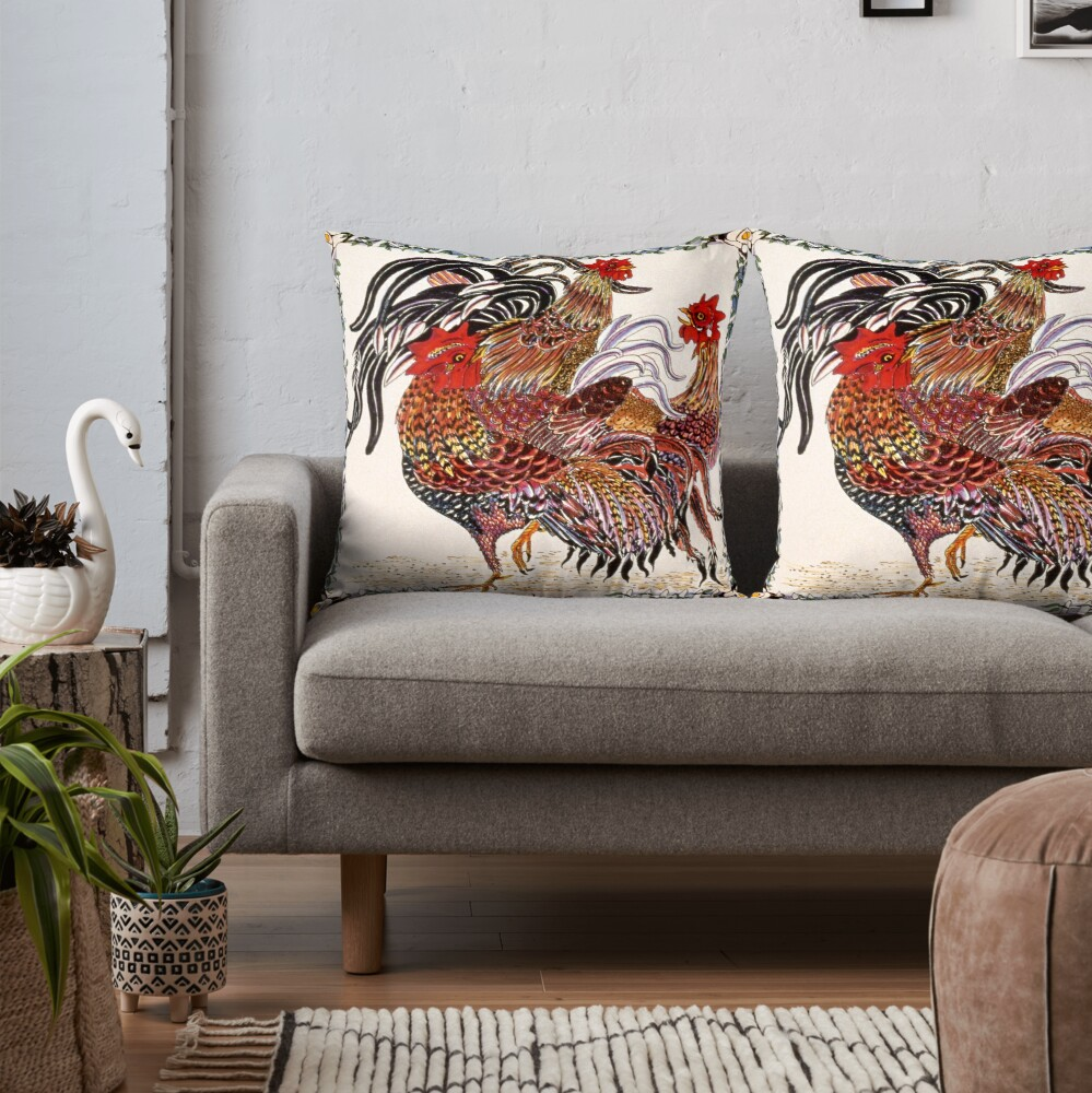 Chickens ornate pen and ink square drawing Throw Pillow