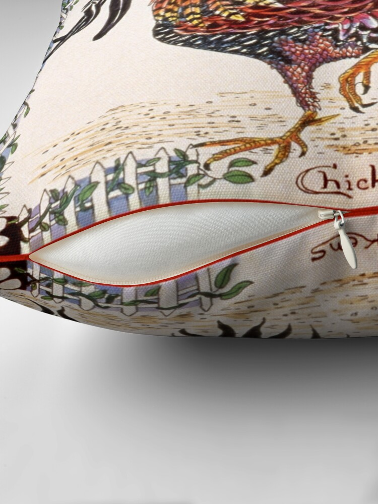 Alternate view of Chickens ornate pen and ink square drawing Throw Pillow