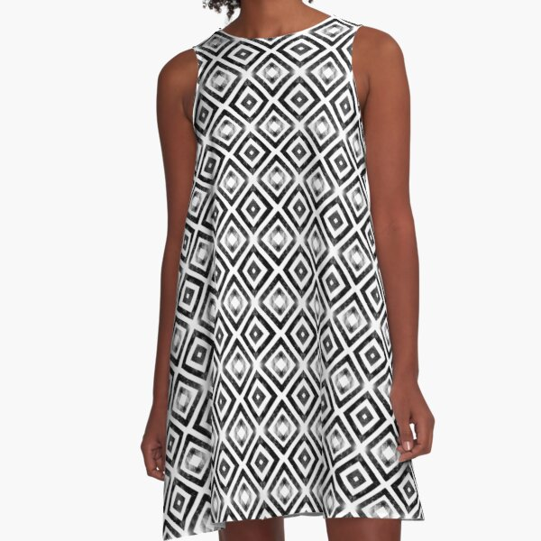 Symmetrical diamond black and white pattern A-Line Dress