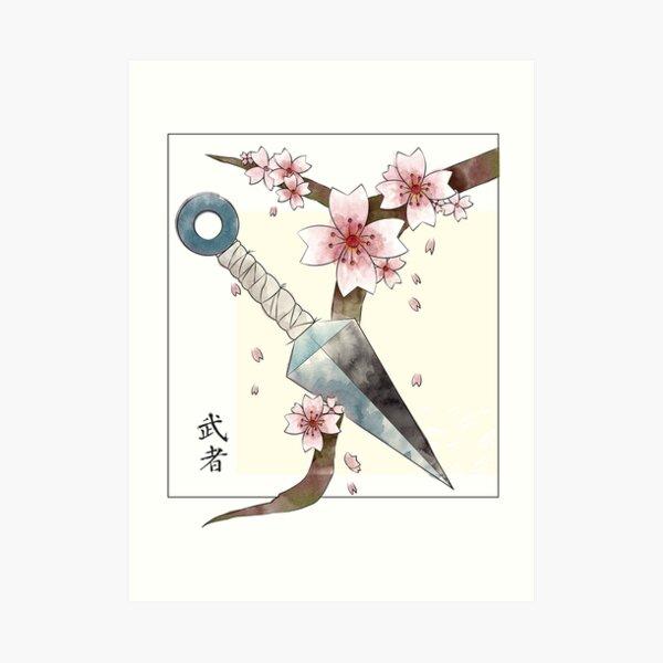Kunai y Sakura Lámina artística