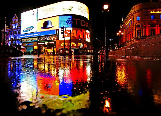 u0026quot;London Rain Color - Piccadilly Circus at Nightu0026quot; Posters by DavidGutierrez : Redbubble