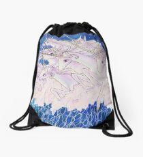 Unicorns in the sea Drawstring Bag