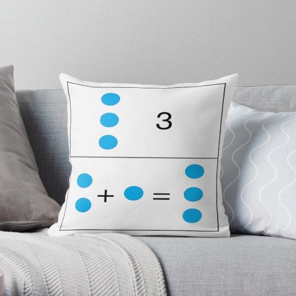 Math, 2+1=3 First grade math skills set foundation for later math ability Throw Pillow