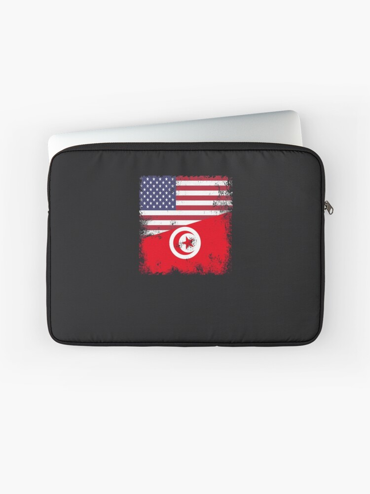 Half Tunisian Flag Design Vintage Tunisia Usa Gift Laptop Sleeve By Melsens Redbubble