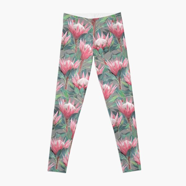 Painted King Proteas - pink on grey Leggings