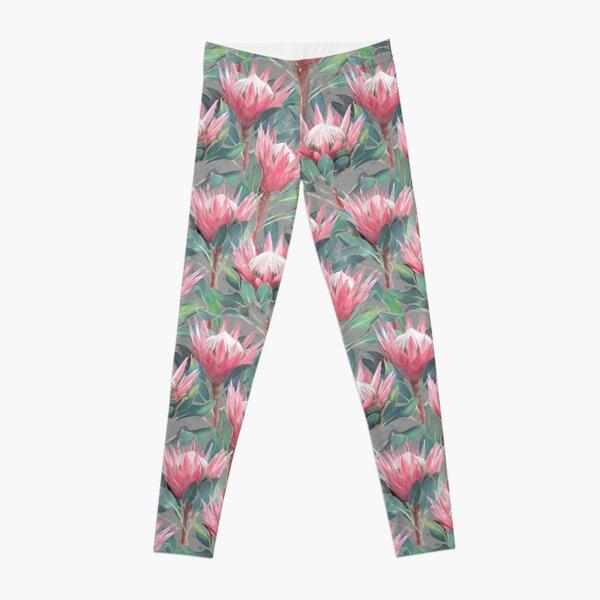 Painted King Proteas - pink auf grau Leggings