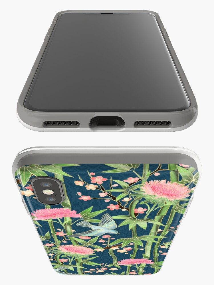 Alternate view of Bamboo, Birds and Blossom - dark teal iPhone Case & Cover