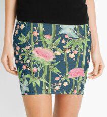 Minifalda Bambú, pájaros y flor - trullo oscuro