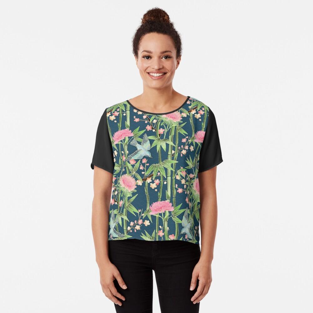 Bamboo, Birds and Blossom - dark teal Chiffon Top