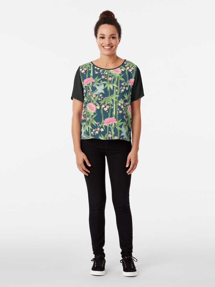 Alternate view of Bamboo, Birds and Blossom - dark teal Chiffon Top