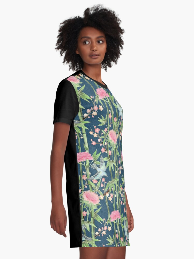 Alternate view of Bamboo, Birds and Blossom - dark teal Graphic T-Shirt Dress