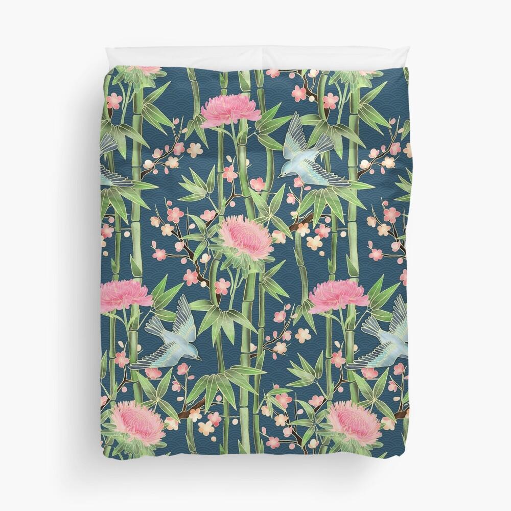 Bamboo, Birds and Blossom - dark teal Duvet Cover