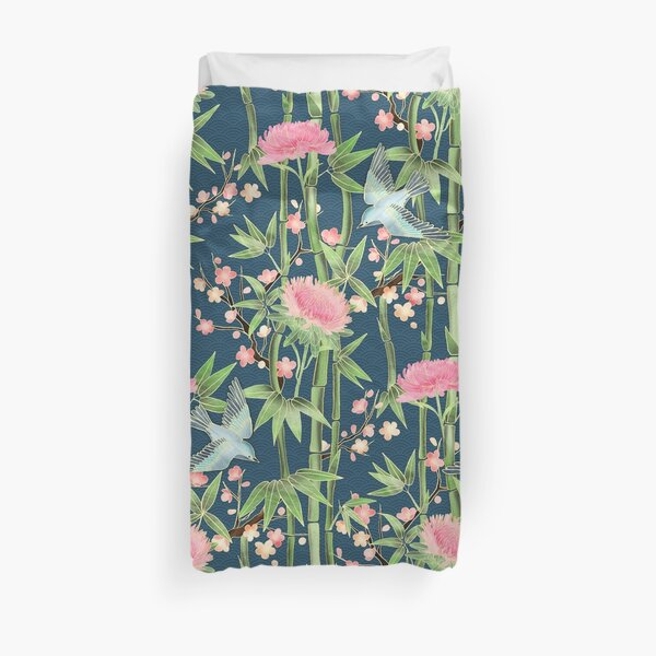 Bamboo, Birds and Blossom - dark teal Duvet Cover