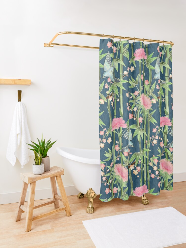 Alternate view of Bamboo, Birds and Blossom - dark teal Shower Curtain