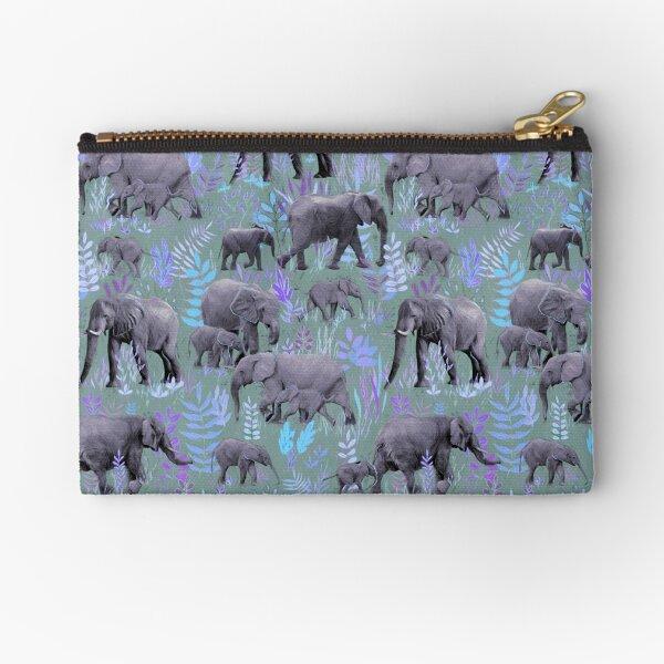 Sweet Elephants in Purple and Grey Zipper Pouch