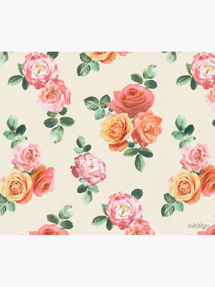 Retro Peach and Pink Roses by micklyn