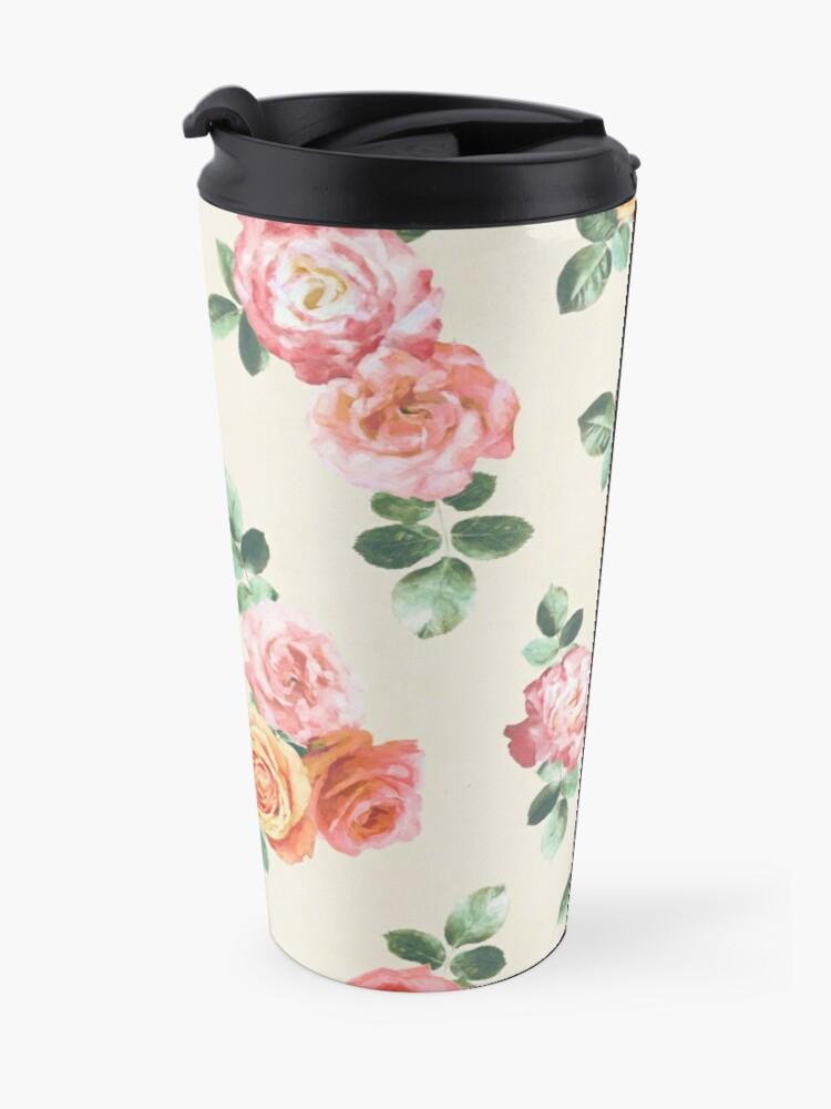 Alternate view of Retro Peach and Pink Roses Travel Mug