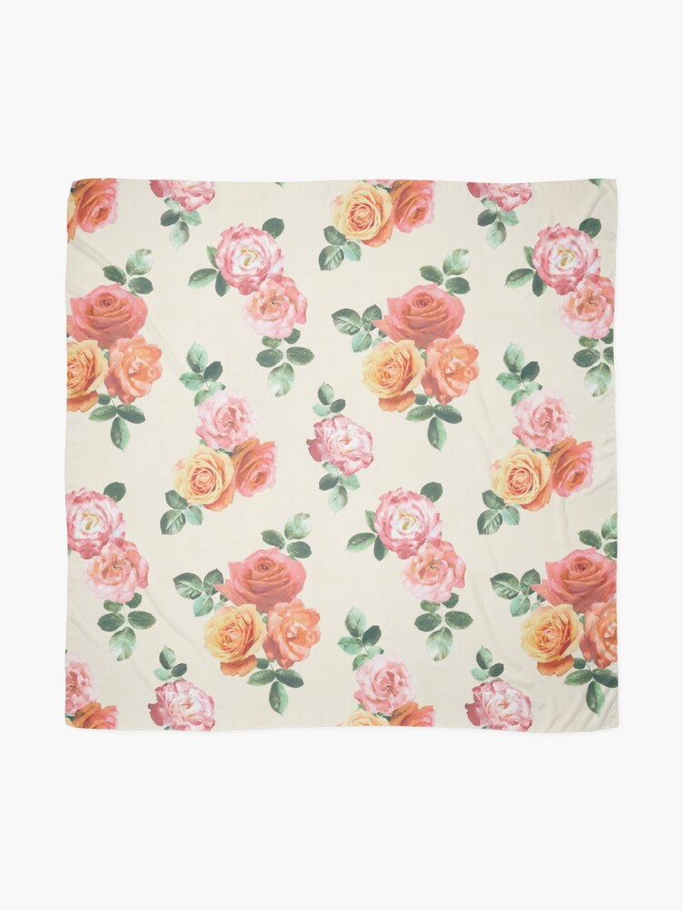 Alternate view of Retro Peach and Pink Roses Scarf