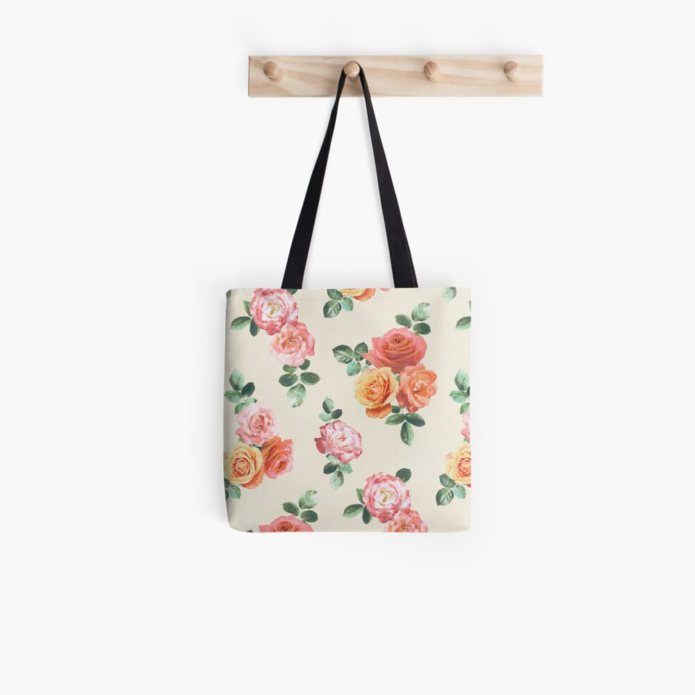 Retro Peach and Pink Roses Tote Bag