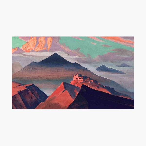 Tent #Mountain by Nicholas #Roerich. #Painting, desert, art, #landscape, mountain, outdoors, tent, valley, canvas Photographic Print
