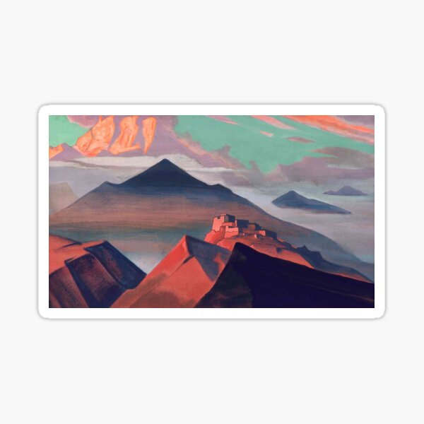 Tent #Mountain by Nicholas #Roerich. #Painting, desert, art, #landscape, mountain, outdoors, tent, valley, canvas Sticker