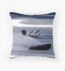 Kitesurfing - Riding the Waves in a Blur of Speed Throw Pillow
