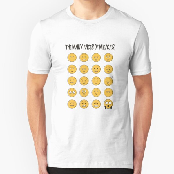 ME/CFS: The Many Faces Of M.E. (Emoji) Slim Fit T-Shirt