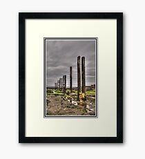 Timber Groynes (HDR using Photomatix) Framed Print
