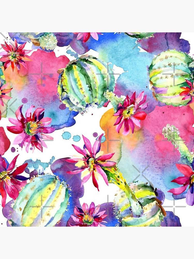 Colourful Watercolour Floral Cactus Plants by MysticMagpie