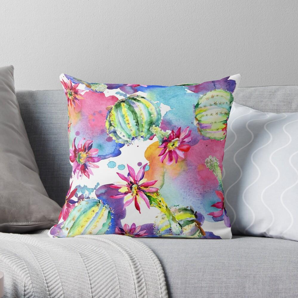 Colourful Watercolour Floral Cactus Plants Throw Pillow
