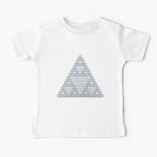 Math-based images in everyday children's setting lay the foundation for subsequent mathematical abilities. Pascal's Triangle,  треугольник паскаля, #PascalsTriangle,  #треугольникпаскаля Baby T-Shirt
